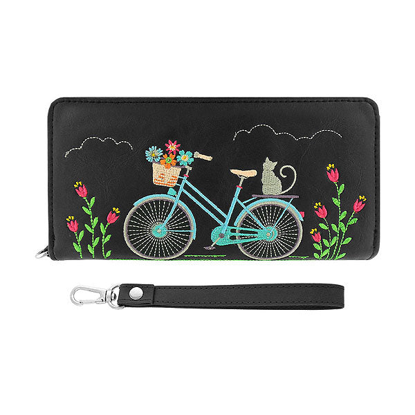 98-402: Cat On Bicycle Embroidered Vegan Wristlet Wallet