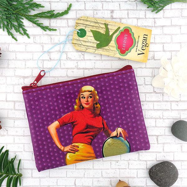Online shopping for vegan brand LAVISHY's retro Sassy bella pinup girl & polka dots print vegan coin purse. It's great for everyday use or as gift for friends & family. Wholesale at www.lavishy.com to gift shop, clothing & fashion accessories boutique & book store in USA, Canada & worldwide since 2001.