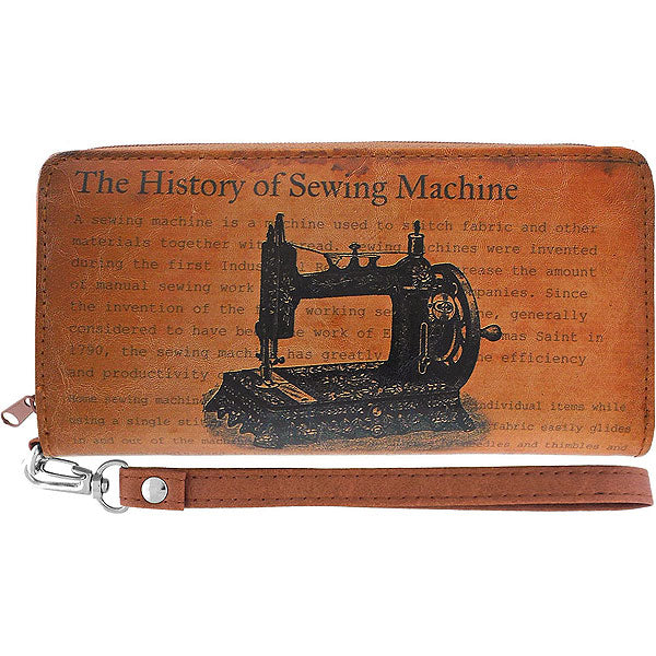 Shop LAVISHY Retro sewing machine print vegan leather wristlet wallet. This item is available for wholesale at www.lavishy.com along with other fun & unique fashion accessories designed by PETA approved vegan brand LAVISHY
