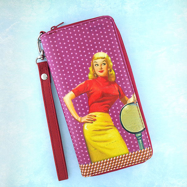 Online shopping for LAVISHY's Eco-friendly funky vegan large wristlet wallet with sassy bella retro pinup girl print. Great for everyday use & travel. A cool gift for family & friends. Wholesale at www.lavishy.com for gift shops, fashion accessories & clothing boutiques, book stores since 2001.