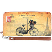 Shop LAVISHY Retro postcard of Pairs bicycle tour print vegan leather wristlet wallet. This item is available for wholesale at www.lavishy.com along with other fun & unique fashion accessories designed by vegan brand LAVISHY