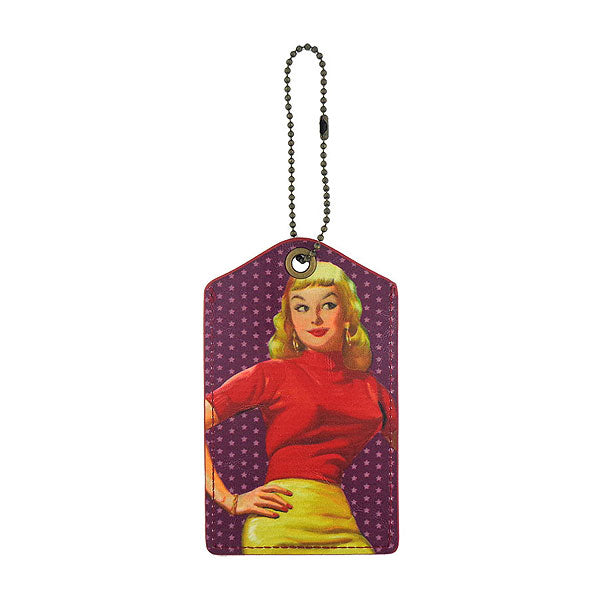 Shop LAVISHY sassy bella retro pinup girl printed vegan leather luggage tag, wholesale available at www.lavishy.com