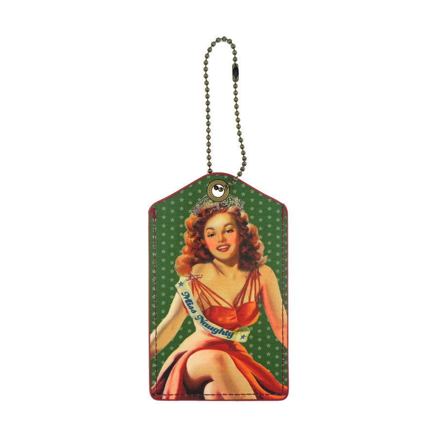 Shop LAVISHY miss congeniality retro pinup girl printed vegan leather luggage tag, wholesale available at www.lavishy.com