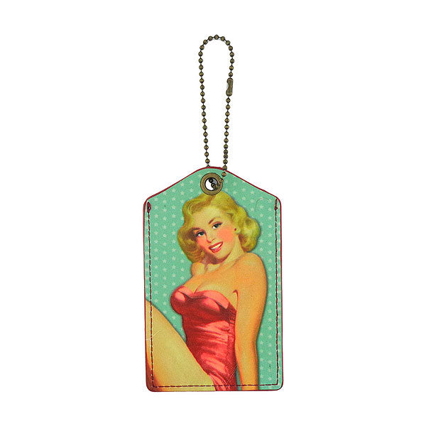 Shop LAVISHY blonde bombshell retro pinup girl printed vegan leather luggage tag, wholesale available at www.lavishy.com