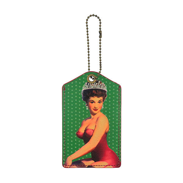 Shop LAVISHY beauty queen retro pinup girl printed vegan leather luggage tag, wholesale available at www.lavishy.com