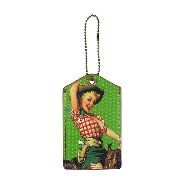Shop LAVISHY cow girl retro pinup girl printed vegan leather luggage tag, wholesale available at www.lavishy.com