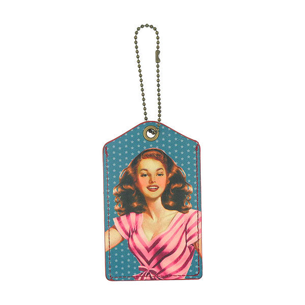 Shop LAVISHY girl next door retro pinup girl printed vegan leather luggage tag, wholesale available at www.lavishy.com