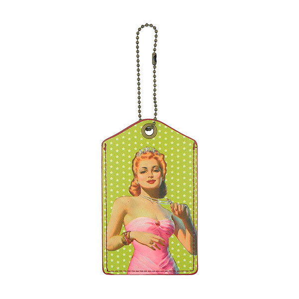 Shop LAVISHY drama diva retro pinup girl printed vegan leather luggage tag, wholesale available at www.lavishy.com