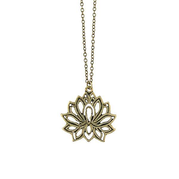 Shop LAVISHY handmade cutout lotus pendant necklace made with recycled materials. They are unique, fun, Eco-friendly & affordable. Wholesale available at www.lavishy.com for gift shop, boutique & corporate buyer.
