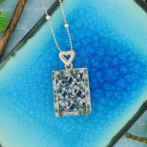 Online shopping for rhodium plated crystal studded double layer pendant necklace. A great gift for you or your girlfriend, wife, co-worker, friend & family. Wholesale available at www.lavishy.com with many unique & fun fashion accessories.