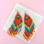 GE010: Handmade bohemian style colorful glass beads earrings