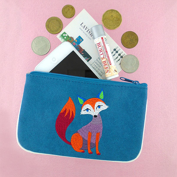 Shop vegan brand LAVISHY's bohemian style fox embroidered vegan small pouch/coin purse that is Eco-friendly, ethically made, cruelty free. Great for everyday use or a gift for your family & friends. Wholesale at www.lavishy.com to gift shops, fashion accessories & clothing boutiques worldwide since 2001.
