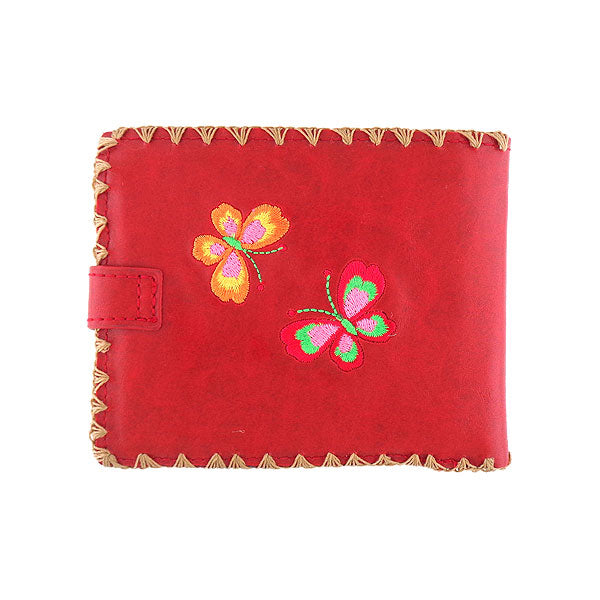 Online shopping foR embroidered flower & butterfly vegan medium wallet for women by vegan brand LAVISHY, this Eco-friendly, ethically made, cruelty free wallet's lovely embroidery motif is framed by decorative stitches around the edge. Wholesale at www.lavishy.com with unique & fun fashion accessories for gift shop, boutique & corporate buyers.