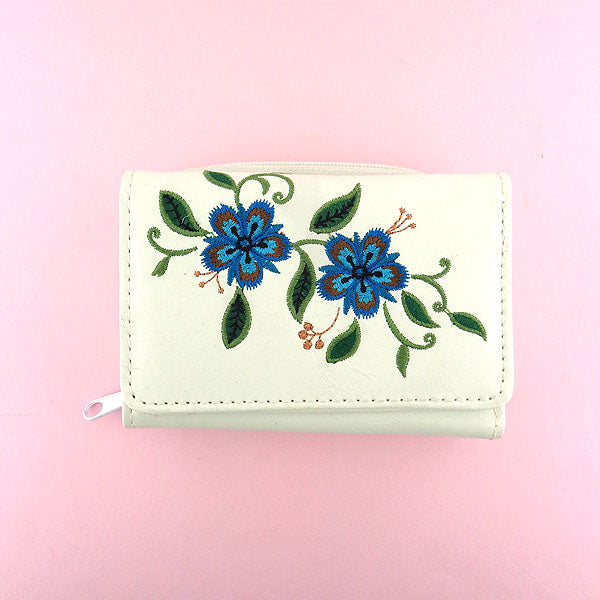 97-051: Carnation flower embroidered vegan small wallet