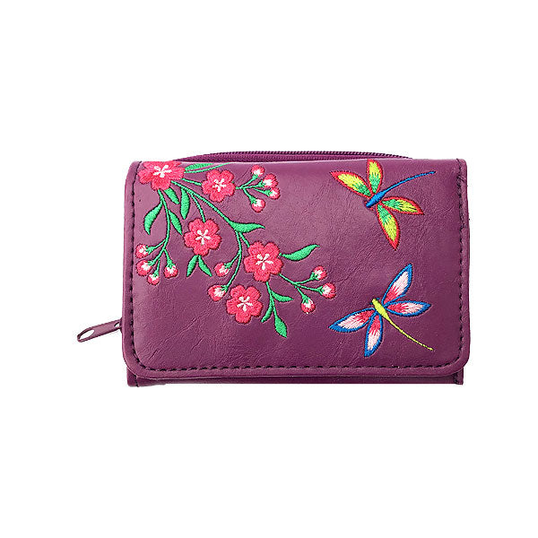 Online shopping for vegan brand LAVISHY's Eco-friendly, ethically made, cruelty free small tri-fold embroidered wallet for women features dragonfly & delightful cherry blossom flower embroidery motif. Wholesale at www.lavishy.com for retailers-gift shop, clothing & fashion accessories boutique & book store worldwide since 2001.