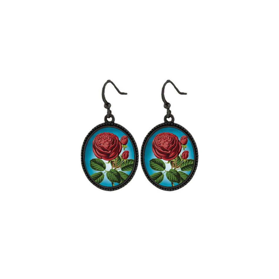 Online shopping for LAVISHY handmade vintage style red rose flower earrings. Great gift idea for friends & family. Wholesale at www.lavishy.com to gift shops, clothing & fashion accessories boutiques, book stores in Canada, USA & worldwide.