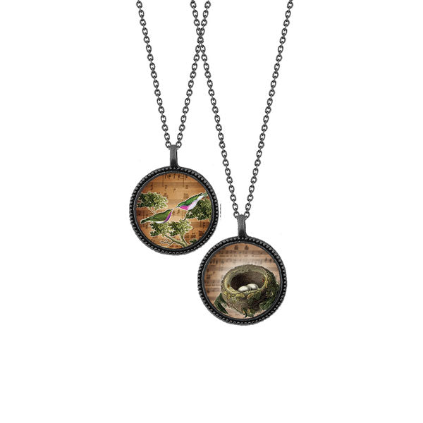 Shop LAVISHY's unique, beautiful & affordable vintage style reversible pendant necklace with love birds & nest print. A great gift for you or your girlfriend, wife, co-worker, friend & family. Wholesale available at www.lavishy.com with many unique & fun fashion accessories.
