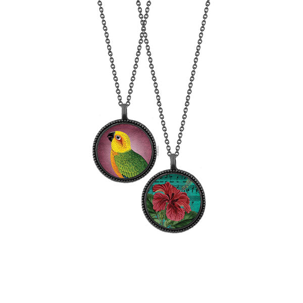 Shop LAVISHY's unique, beautiful & affordable vintage style reversible pendant necklace with parrot & hibiscus flower print. A great gift for you or your girlfriend, wife, co-worker, friend & family. Wholesale available at www.lavishy.com with many unique & fun fashion accessories.