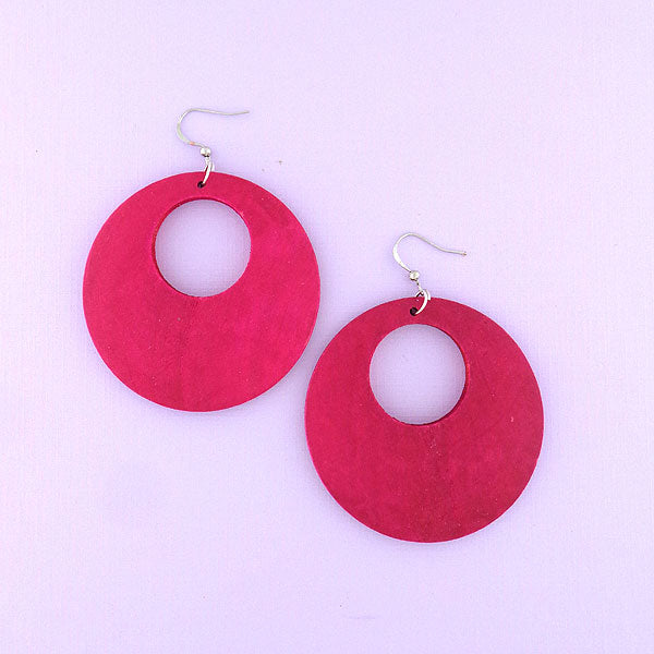 Online shopping for LAVISHY's handmade hot pink wood disc pendant earrings. A bold, stylish gift for yourself, friends and family. Handmade in Toronto Canada by LAVISHY.