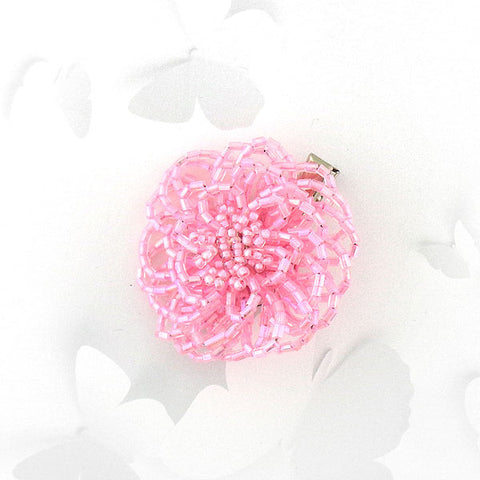 Online shopping for handmade pink glass seed bead flower brooch/ hair clip. It is fun, colorful and affordable with bohemian vibe.