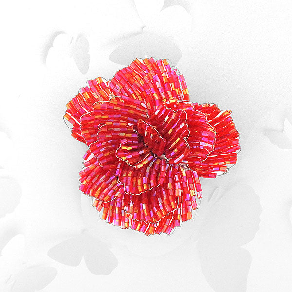 Online shopping for handmade ruby red glass seed bead flower brooch. It is fun, colorful and affordable with bohemian vibe.