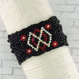 Online shopping for Handmade glass beads elastic bracelet with tribal pattern. It is fun, colorful and affordable with bohemian vibe.