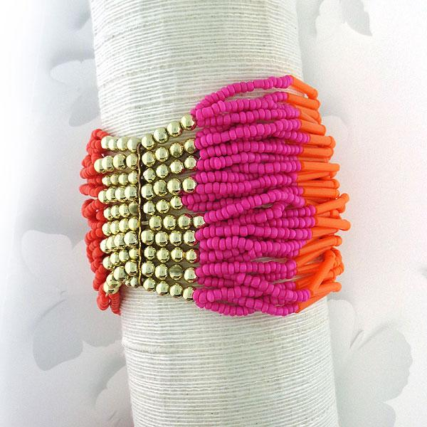 Online shopping for bohemian style handmade orange and hot pink glass beads stretchable bracelet by LAVISHY exclusive for LAVISHY Boutique. A great gift for you or your girlfriend, wife, co-worker, friend & family. These are exclusive for LAVISHY Boutique only.