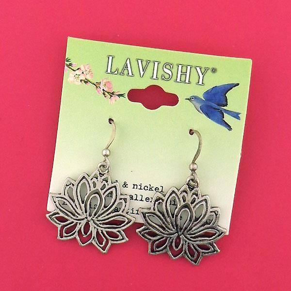 Shop LAVISHY handmade cutout lotus pendant earrings made with recycled materials. They are unique, fun, Eco-friendly & affordable. Wholesale available at www.lavishy.com for gift shop, boutique & corporate buyer.