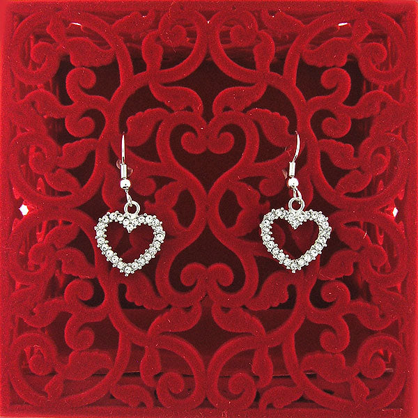 CO-030: Heart earrings with Austrian crystal accent