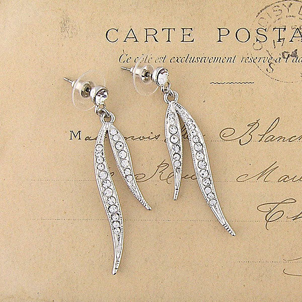 CO-033: Leaf earrings with Austrian crystal accent