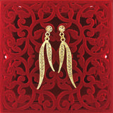 Online shopping for Rhodium or 12k gold plated leaf earrings with Austrian crystal accent. A great gift for you or your girlfriend, wife, co-worker, friend & family. Wholesale at www.lavishy.com with many unique & fun fashion accessories.