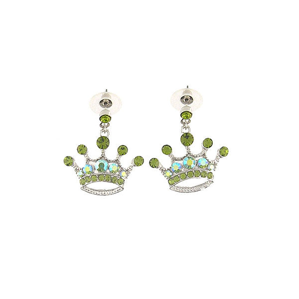 Online shopping for Rhodium or 12k gold plated crown earrings with Austrian crystal accent. A great gift for you or your girlfriend, wife, co-worker, friend & family. Wholesale at www.lavishy.com with many unique & fun fashion accessories.