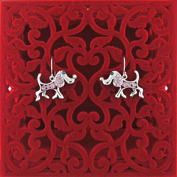 CO-039: Dog earrings with Austrian crystal accent