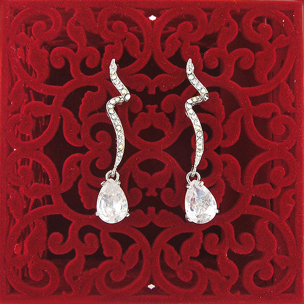 CO-044: Drop earrings with cubic zirconia & Austrian crystal accent