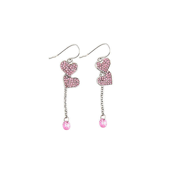 CO-046: Heart earrings with cubic zirconia & Austrian crystal accent