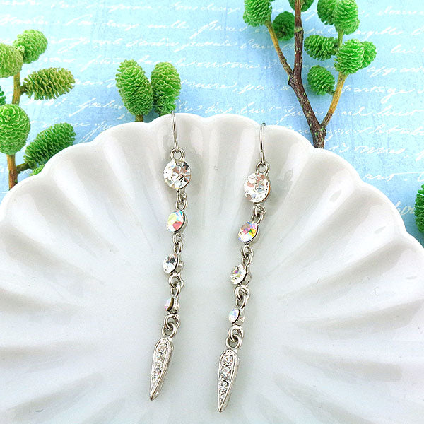 CO-047: Long drop earrings with Austrian crystal accent