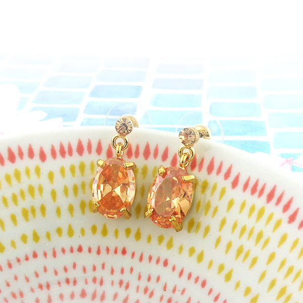 CO-050: Austrian crystal earrings with cubic zirconia drop