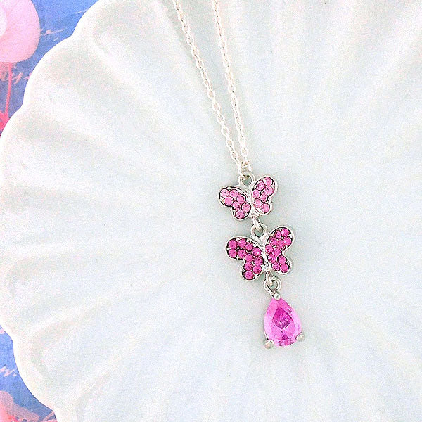 CO-091: Cubic zirconia & Austrian crystal butterfly pendant necklace