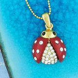 CO-071: Ladybug necklace with epoxy & Austrian crystal accent