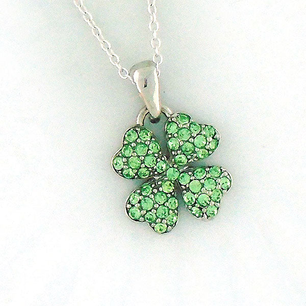 CO-072: Four leaf clover necklace with Austrian crystal accent