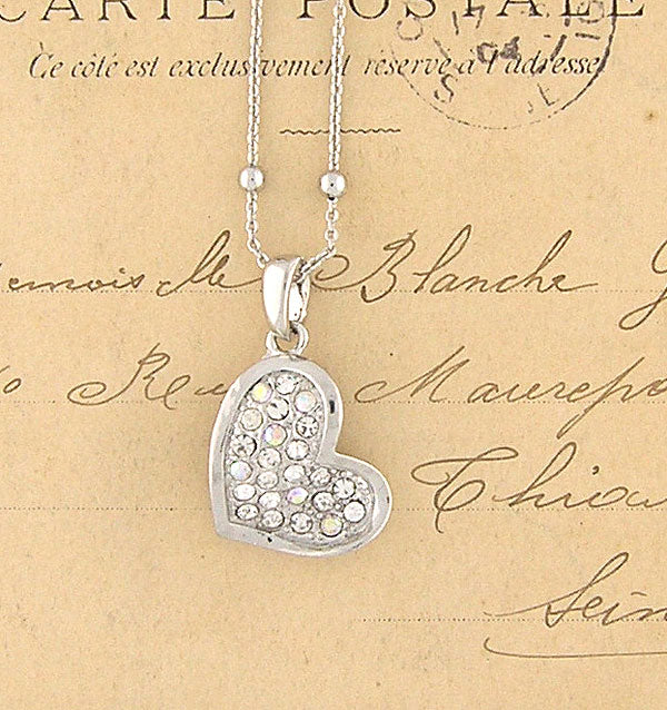 CO-073: Heart necklace with Austrian crystal accent