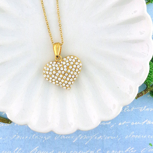 CO-074: Heart necklace with Austrian crystal accent