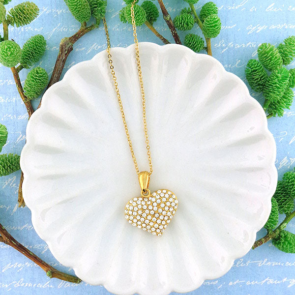 Online shopping for gold plated heart pendant necklace with Austrian crystal accent. A great gift for you or your girlfriend, wife, co-worker, friend & family. Wholesale available at www.lavishy.com with many unique & fun fashion accessories.