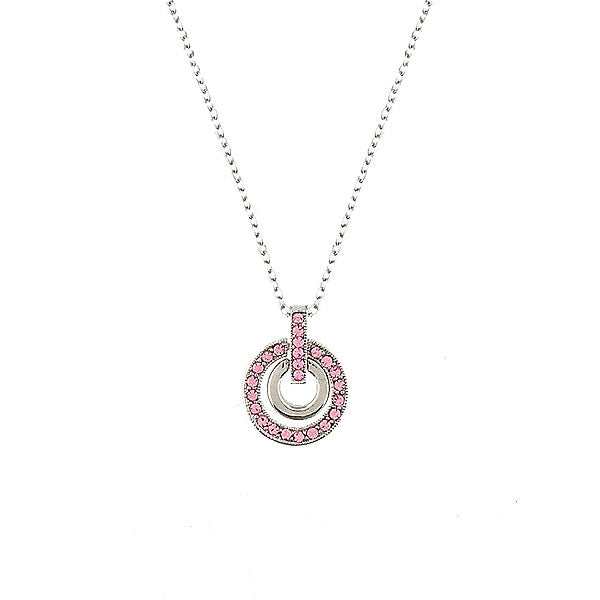 CO-096: Circle pendant necklace with Austrian crystal accent