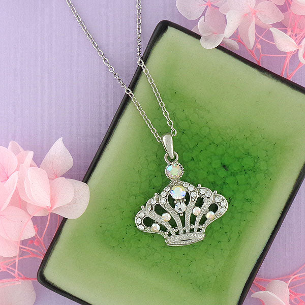 Online shopping for rhodium/gold plated crystal studded crown pendant necklace. A great gift for you or your girlfriend, wife, co-worker, friend & family. Wholesale available at www.lavishy.com with many unique & fun fashion accessories.