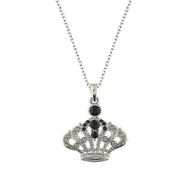 CO-085: Austrian crystal studded crown pendant necklace