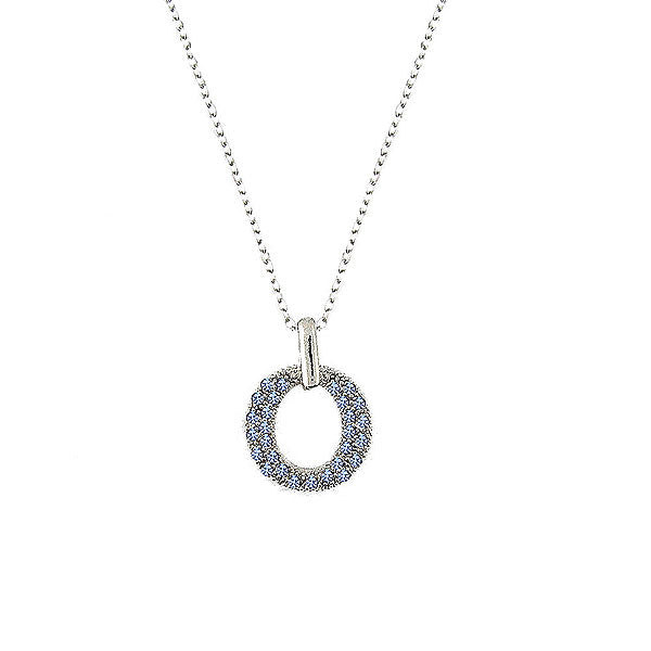 CO-097: O pendant necklace with Austrian crystal accent
