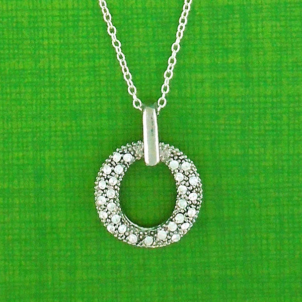 Online shopping for rhodium plated crystal studded double circle pendant necklace. A great gift for you or your girlfriend, wife, co-worker, friend & family. Wholesale available at www.lavishy.com with many unique & fun fashion accessories.