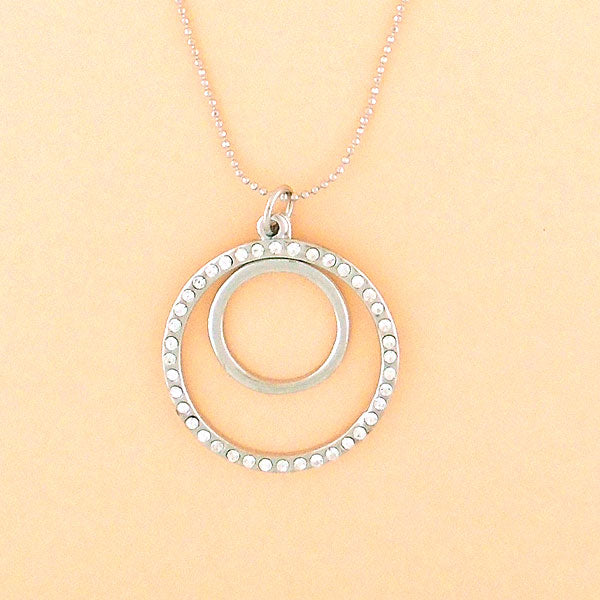 Online shopping for rhodium plated crystal studded double circle pendant necklace. A great gift for you or your girlfriend, wife, co-worker, friend & family. Wholesale at www.lavishy.com with many unique & fun fashion accessories.