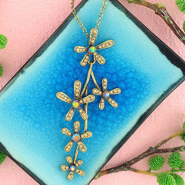 CO-101: Flower necklace with Austrian crystal accent